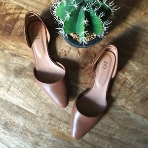 J.Jill d'Orsay Brown Leather Pointed Toe Flats